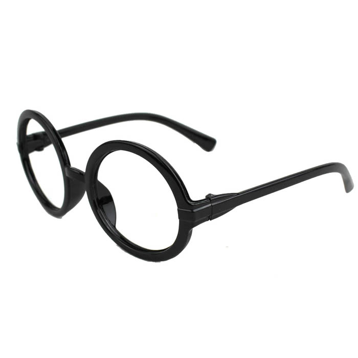 Retro Round Lens PVC Glasses Frame - Black