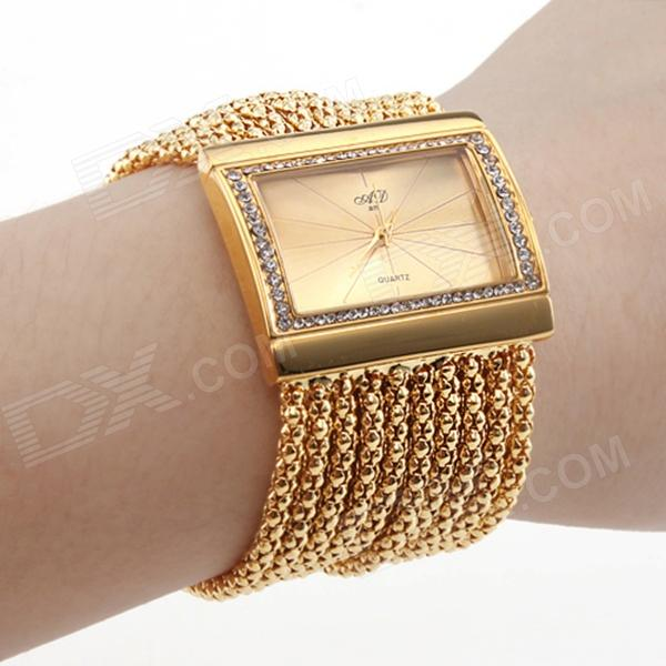 Women's Fashionable Bracelet Style Rhinestone Inlaid Analog Quartz Wristwatch - Golden (1 x 362) xxsl021 women s stylish star style rhinestone inlaid charm bracelet golden