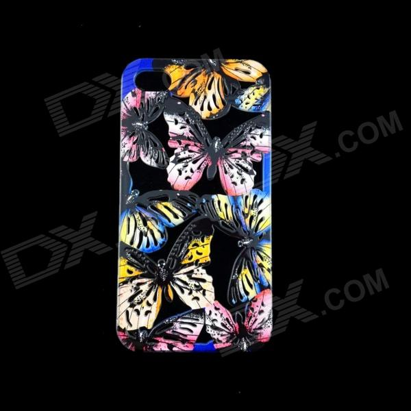 A1LJ Butterfly Style Hollow Out Plastic Back Case for IPHONE 4 / 4S - Black + Yellow + Multi-Colored