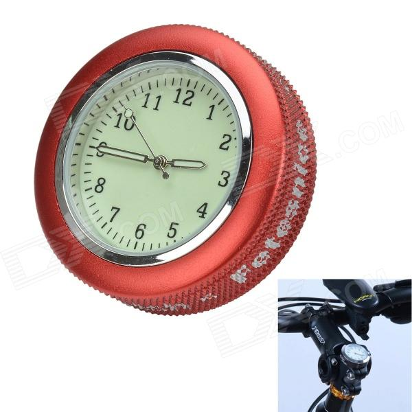 Bicycle Mounted Waterproof Shockproof Mini Aluminum Alloy Luminous Clock Watch - Red + Silver