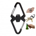 Stainless Steel 2-in-1 Carabiner / Bottle Opener Camping Tool Set - Black