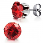 Women's Fashionable Red Crystal Inlaid Stainless Steel Earring - Silver (2 PCS)