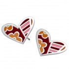 Women's Fashionable Sweet Heart Shaped Stainless Steel Ear Stud - Silver + Multicolored
