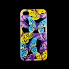 A1LJ Butterfly Style Hollow Out Plastic Back Case for IPHONE 4 / 4S - Black + Light Blue