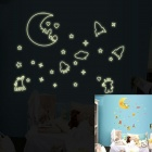 DIY Decorating Cute Interstellar Space Glow-in-the-Dark Wall Sticker - Multicolored