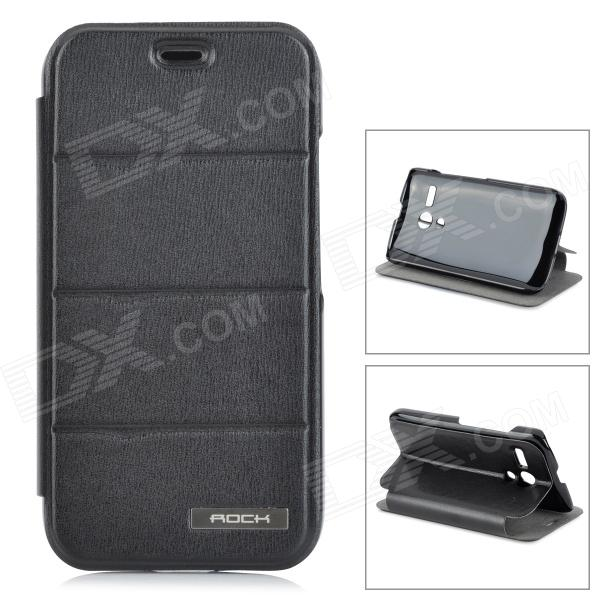 ROCK Protective PU Leather Flip Open Case w/ Stand for MOTO G - Black