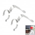 Universal 7-Shaped Stainless Steel Hanging Hooks / Clamps for Water Bottle - Silver (2 PCS)