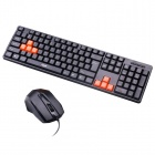 PS/2 Wired 107-Key Gaming Keyboard + Wired USB Mouse Set - Black + Orange