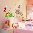 Bicycle Girl + Flower Pattern PVC Wall Sticker for Children's Room / Bedroom - Multicolored