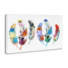Iarts DX0613-04 Hand Painted Canvas Water Color Feathers Oil Painting - Multicolored