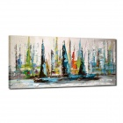 Iarts DX0613-11 Hand Painted Landscape Sailing Boats Oil Painting - Multicolored