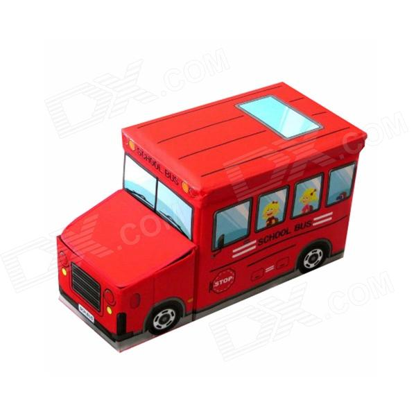 DL-09 Children's Portable Foldable Cartoon Patterned School Bus Style Storage Stool - Red baby stroller can sit and lie in the summer of four ultra portable folding umbrella car wheel suspension baby cart high landscap