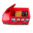 DL-09 Children's Portable Foldable Cartoon Patterned School Bus Style Storage Stool - Red