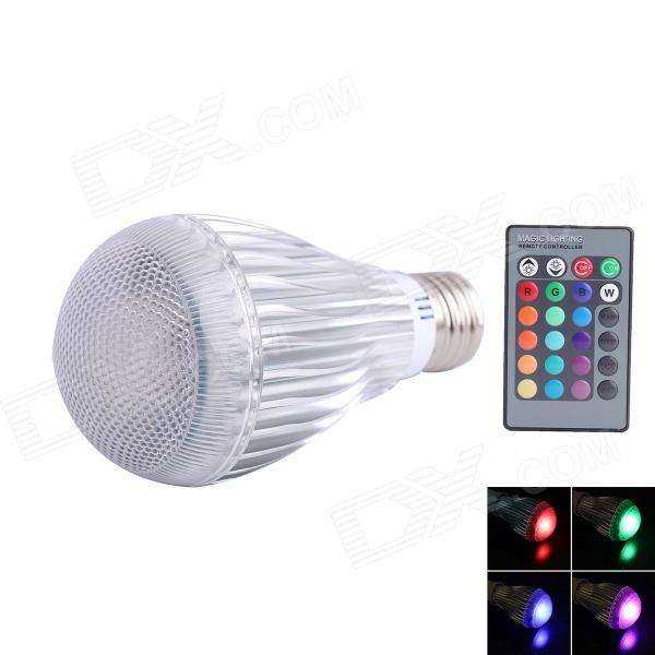E27 3W 1-LED RGB Light Bulb w/ Remote Control - Silver (AC 85~265V) jr led e27 10w 500lm led rgb light bulb w remote control white silver ac 85 265v