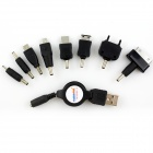Universal USB 2.0 Retractable Charging Cable + 8 Charging Adapters Set - Black