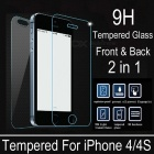 Angibabe 0.4mm Tempered Glass Front & Back Screen Protector for IPHONE 4 / 4S - Transparent
