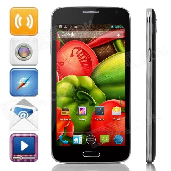 G900W Android 4.2.2 Dual-core WCDMA Bar Phone w/ 5.0 Screen, Wi-Fi, GPS - Black + Silver jiake f1w 5 0inch capacitive touch screen mtk6572 dual core 1 2ghz smartphone 512mb 4gb 2 0mp 0 3mp android 4 2 os 3g gps with protective case black