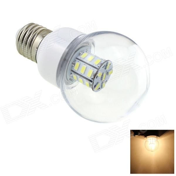 HONSCO E27 3W 200lm 3000K 27-SMD 5730 LED Warm White Light Bulb - White + Silver (AC/DC 12~24V) honsco e27 5w 400lm 3000k 84 smd 2835 led warm white light bulb white silver ac 85 265v