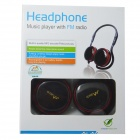 WLD M200A Fold-up Stereo MP3 Headband Headphone w/ FM / TF Card Slot - Red + Black