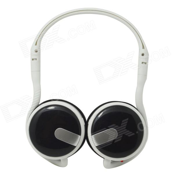 WLD M200C Fold-up Stereo MP3 Headband Headphone w/ FM / TF Card Slot - White + Black aj 81 wireless bluetooth v2 1 mp3 speaker w tf fm micro usb for iphone more black white