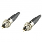 HF DIY 3-Pin Male + Female Jack Set Adaptadores Conectores - Negro + Plata (2PCS)