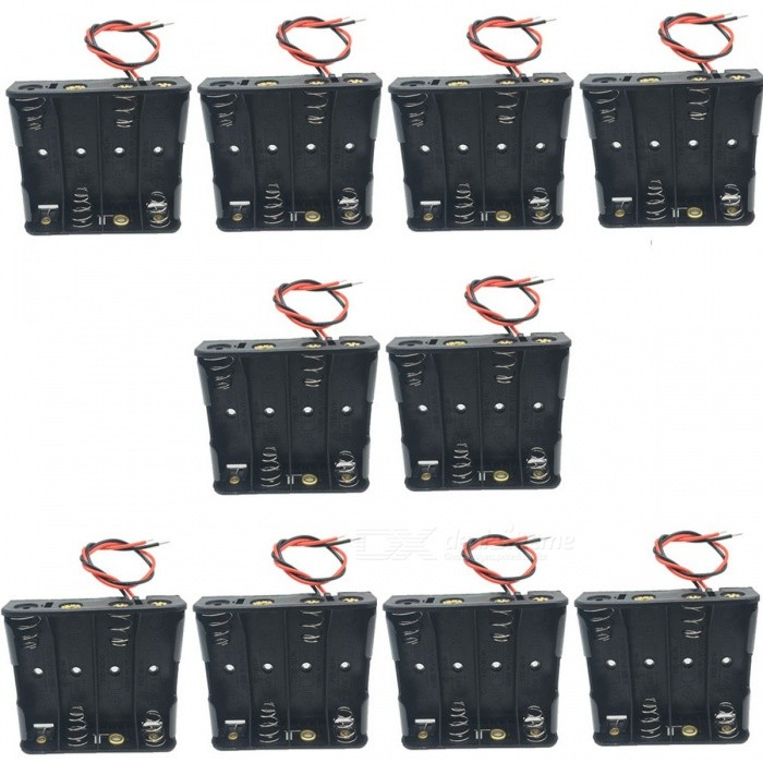 CM01 DIY 4 x AA Battery Holder Case Box w/ Leads (10PCS) diy 12v 8 x aa battery holder case box with leads switch black