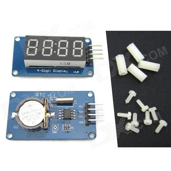 DS1307 RTC Mini Clock Display Module + 4-Digit Display Module for Arduino - Blue + Black + WhiteLCD, LED Display Module<br>Form ColorBlue+Black+WhiteBrandN/AModelN/AQuantity1 DX.PCM.Model.AttributeModel.UnitMaterialPCB + nylonChipsetDS1307 + TM1637English Manual / SpecYesDownload Link   http://pan.baidu.com/s/1c0AIAXEOther FeaturesA product for Arduino that works with official Arduino boards.Packing List1 x Module (With a CR1220 battery )1 x 4-Digit display8 x Nylon screws ( M2*5 ) 4 x Nylon hex socket nuts ( M2*10 )<br>