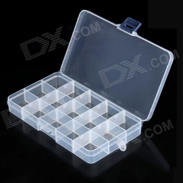TaiShen 15-Segment Plastic Gadgets Batteries Storage Box Case - Transparent