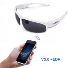 GLA-001 Universal Smart Bluetooth 3.0 + EDR Polarized Sunglasses w/ UV Lens  - White