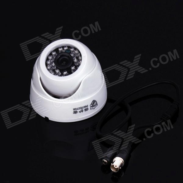 Protector PT-8013G 600TVL 1/4 CMOS Dome Surveillance Camera w/ 24-IR LED - White weipus wps gl3060h 3 6mm 1 4 cmos 800tvl surveillance ir dome camera w 24 ir led white