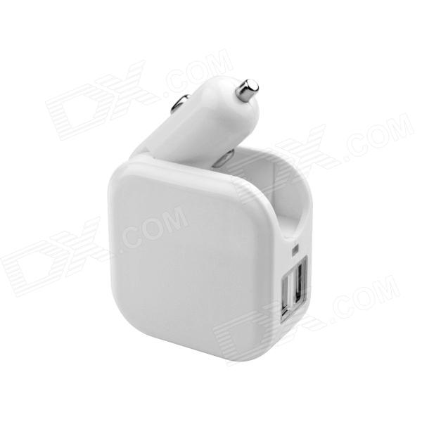 Universal Home Double Use / Car Cigarette Lighter Power Adapter Charger w/ US Plug - White fonemax x power cactus car charger w 3 port usb