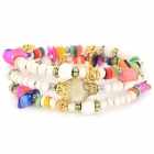 Women's Ethnic Style Handwork Beads Bracelet - White + Purple + Multi-Colored