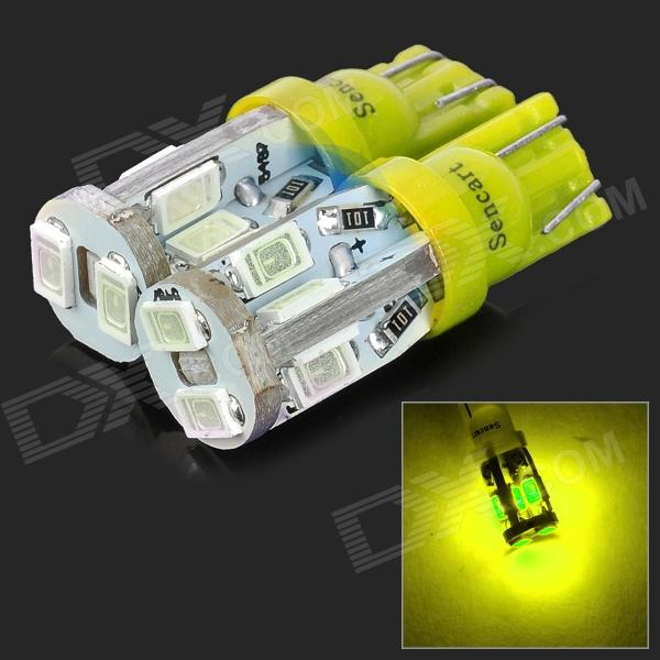SENCART T10 4W 28lm 10-SMD 5730 LED Yellow Light Car Lamps - Yellow (12~16V / 2 PCS)