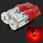 SENCART T10 4W 28lm 700nm 10-SMD 5730 LED Red Light Car Lamper-Rød (12 ~ 16V / 2 stk)