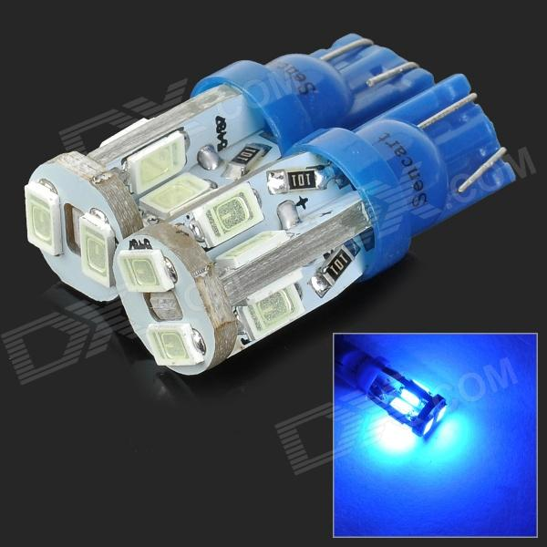 SENCART T10 4W 25lm 490nm 10-SMD 5730 LED Blue Light Car Lamps - Blue (12~16V / 2 PCS)
