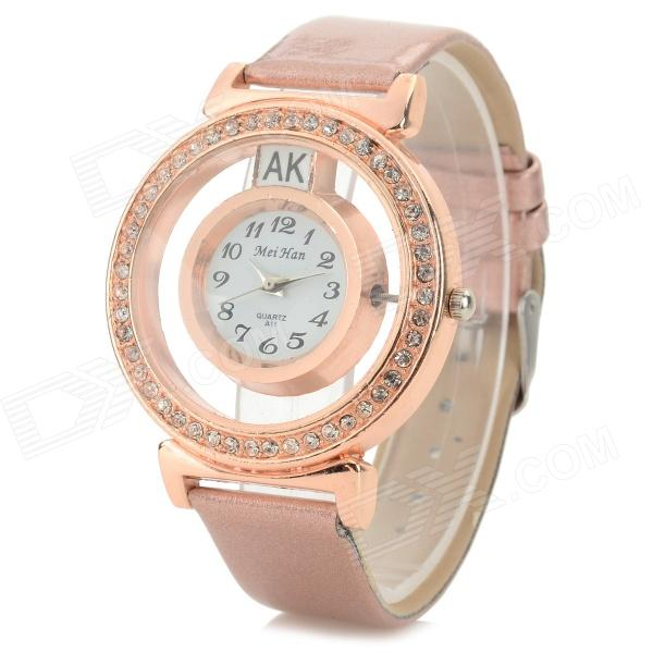 MeiHan A11 PU Band Rhinestone Inlaid Analog Quartz Watch for Women - Rose Gold (1 x 626)