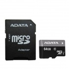 ADATA Premier Micro SDXC / TF Memory Card + SD Adapter - Black + Gray (64GB / UHS-I Class10)