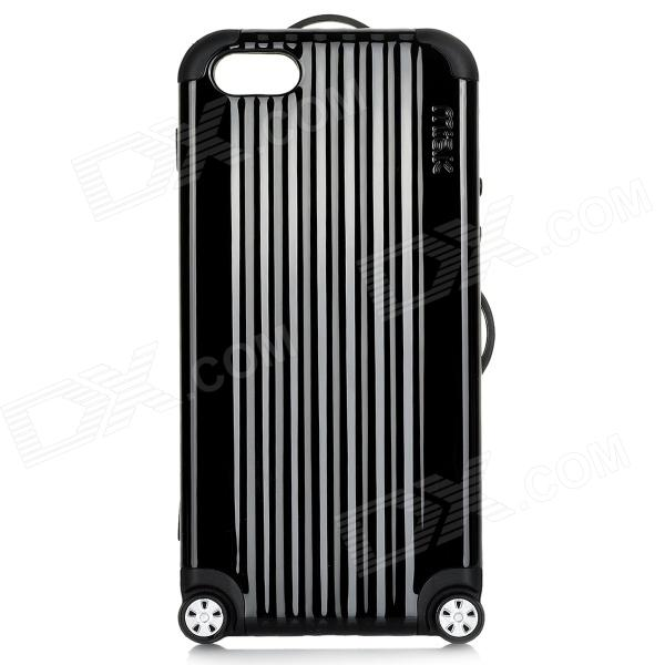 Miak Suitcase Style Protective PC + TPU Case w/ Stickers + NFC for IPHONE 5 / 5S / 5C - Black