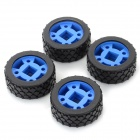 MXL-47 DIY Rubber + Plastic 47mm Wheels for R/C Car - Blue + Black (4 PCS)