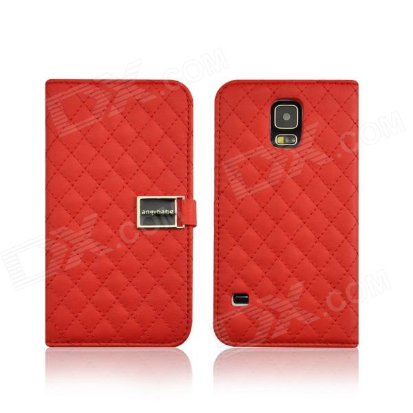 Grid Pattern Flip Open PU Leather Case w/ Card Slot / Stand for Samsung Galaxy S5 - Red cute owl pattern pu leather flip open case w stand card slot for iphone 4 4s multi color