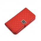 Grid Pattern Flip Open PU Leather Case w/ Card Slot / Stand for Samsung Galaxy S5 - Red
