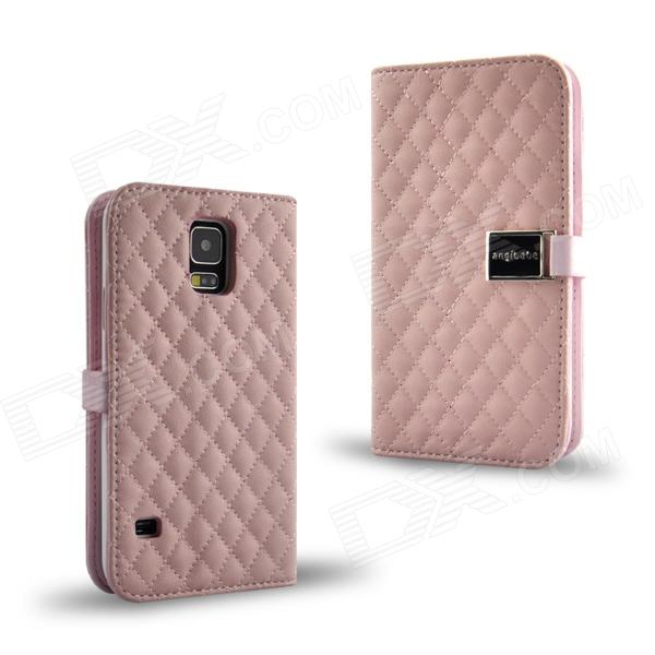 Grid Pattern Flip Open PU Leather Case w/ Card Slot / Stand for Samsung Galaxy S5 - Pink cute owl pattern pu leather flip open case w stand card slot for iphone 4 4s multi color
