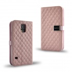 Grid Pattern Flip Open PU Leather Case w/ Card Slot / Stand for Samsung Galaxy S5 - Pink