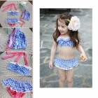 HJ-21 Girls' Lovely Bowknot Swim Suit Set - Blue + White (S)