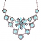 Fashion Women's Flower Style Necklace + Earrings Set - Green + Silver