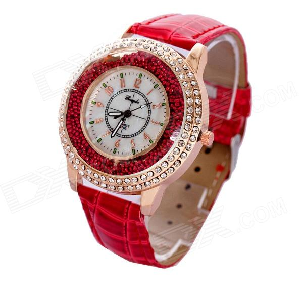 Women's Stylish PU Leather Band Quartz Analog Wrist Watch - Rose Gold + Red (1 x 626)