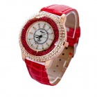 Frauen Modische PU-Leder-Band-Quarz Analog Armbanduhr - Rose Gold + Rot (1 x 626)