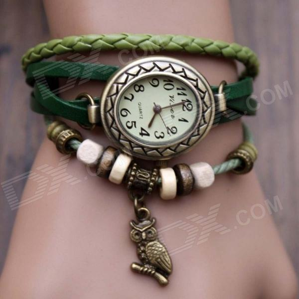 Women's Split Leather Band Stainless Steel Quartz Analog Bracelet Watch w/ Owl Pendant - Grass Green split leather band analog quartz watch handwork retro style bracelet for women 1 x ag4