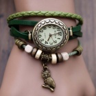 Women's Split Leather Band Stainless Steel Quartz Analog Bracelet Watch w/ Owl Pendant - Grass Green