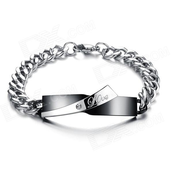 Men's Fashionable 316L Stainless Steel Bracelet - Black + Silver 316l stainless steel wire soft diameter 1mm length 5 meter